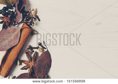 Autumn spices for mulled wine background. Frame made of dried fall leaves and herbs and condiments as cinnamon, cardamom, clove, anise and sloe. Top view on white wood, flat lay, copy space