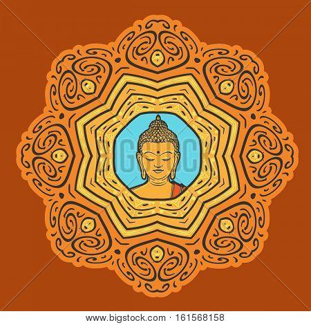Buddha face over ornate mandala. Esoteric vintage vector illustration. Indian, Buddhism, Thai spiritual decor element.