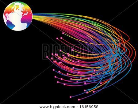 Optic fibers vector illustration
