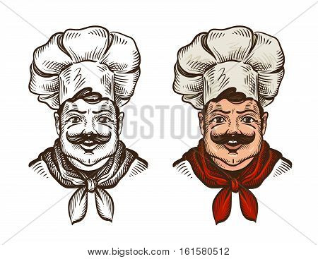 Chef face caricature cartoon. Vector illustration isolated on white background