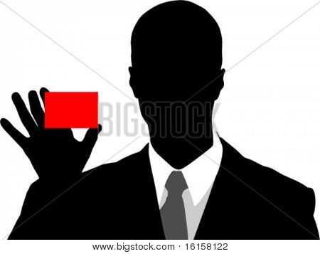 Business man holding red card
