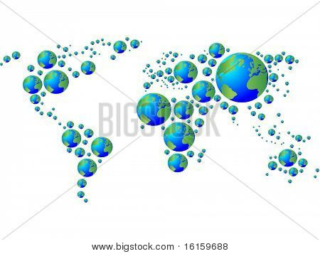 World map made with earth globe