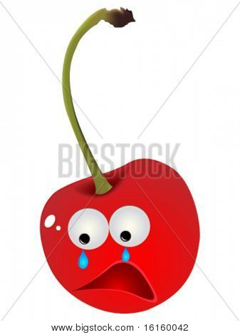 Sad cherry vector illustration