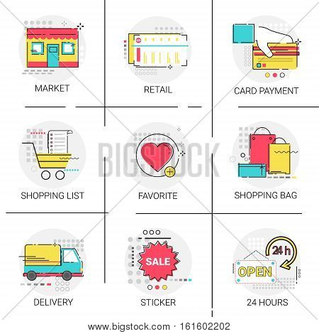 Card Payment Banking Online Shopping Delivery Favorite Website Icon Set Vector Illustration