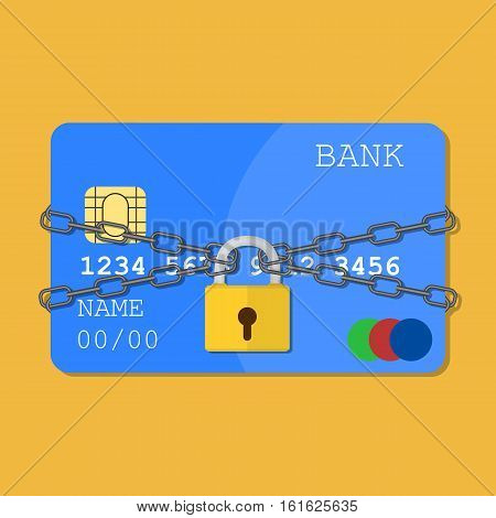 Credit card with chains and pad lock. Concept of protection. flat illustration concept for web banners, web and mobile app, web sites, infographics