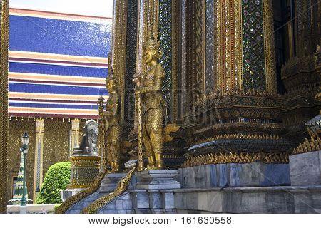 Demon guardian warriors Statue of a Pagoda in Wat Phra Kaew