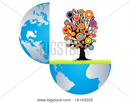 Open earth with colorful tree inside vector illustration