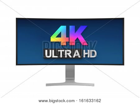 4K Ultra HD Wide Monitor isolated on white background. 3D render