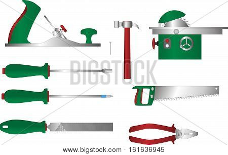 Vector set of tools for working with wood: plane, screwdriver, pliers, file, saw handsaw, circular saw. Coloured cartoon style woodwork equipment.