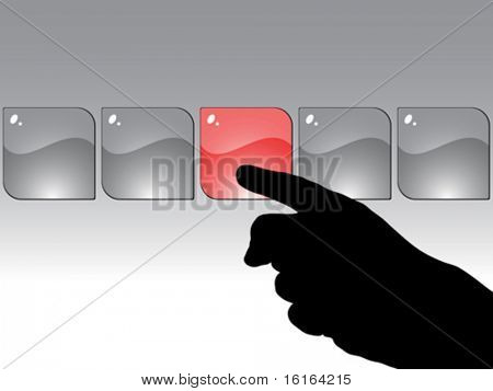 human hand press the button vector illustration