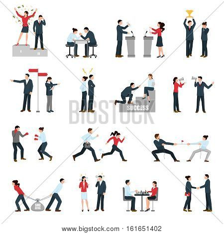 Constructive confrontations in business specific situations as way for success symbols flat icons collection isolated vector illustration