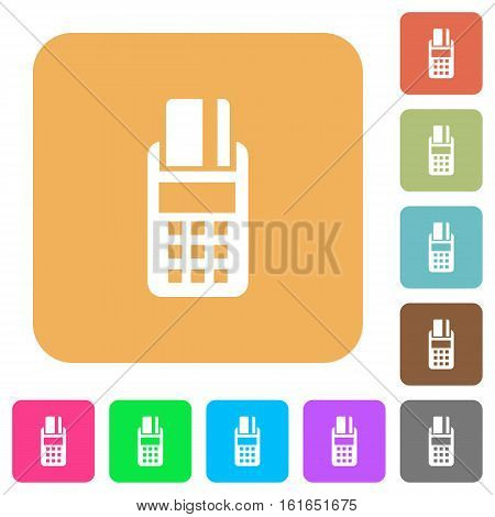 POS terminal icons on rounded square vivid color backgrounds.