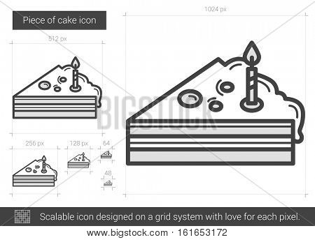 Piece of cake vector line icon isolated on white background. Piece of cake line icon for infographic, website or app. Scalable icon designed on a grid system.