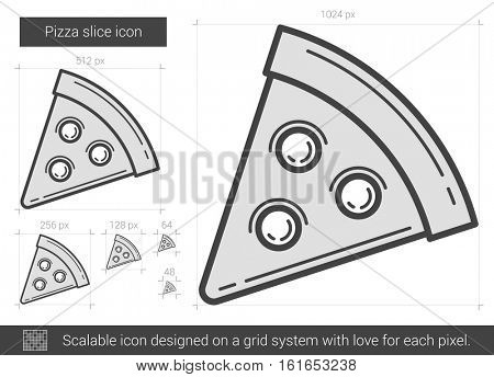 Pizza slice vector line icon isolated on white background. Pizza slice line icon for infographic, website or app. Scalable icon designed on a grid system.