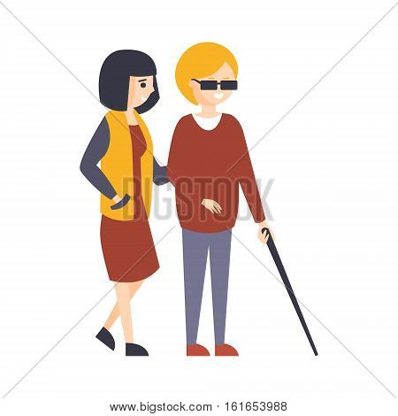 Physically Handicapped Person Living Full Happy Life With Disability Illustration With Smiling Blind Woman Walking With Friend. Disabled Cartoon Character With Physical Impairment Vector Drawing.