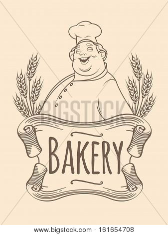 Isolated image of chef baker unicolorous label