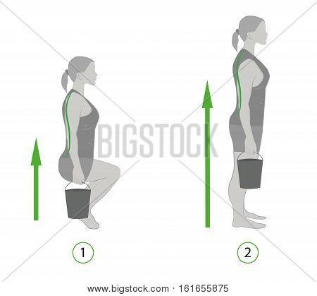 recommendation properly lift heavy (bucket). vector illustration.