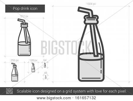 Pop drink vector line icon isolated on white background. Pop drink line icon for infographic, website or app. Scalable icon designed on a grid system.