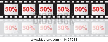 fifty percent discount on filmstip vector illustration