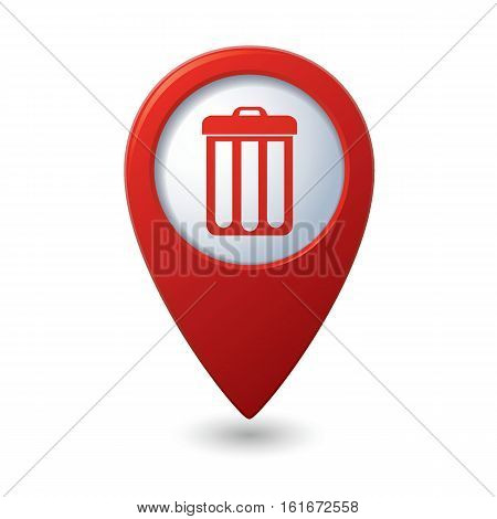 Map pointer with trash can icon. Vector illustration