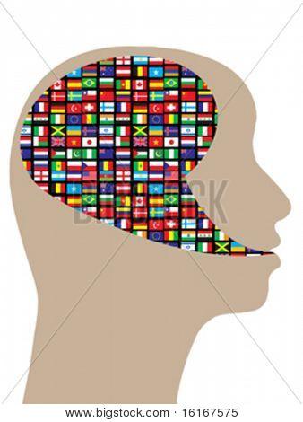 Global thinking vector illustration