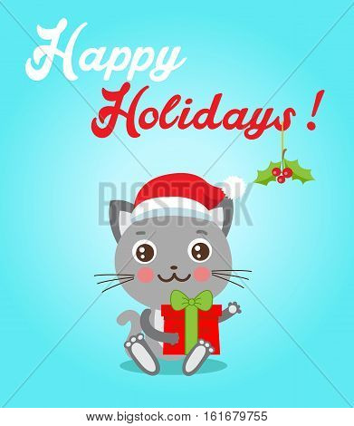Cat Cartoon Character For Christmas Vector Cards And Banners. Funny Kitty With Gifts And Santa Hat In Flat Style. Happy Holidays Postcard Design. Funny Cat.