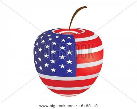 (raster image of vector) american flag on apple