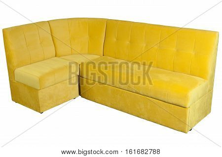 Yellow fabric l shaped sofa corner sofa for dining room with storage space isolated on white background include clipping path.