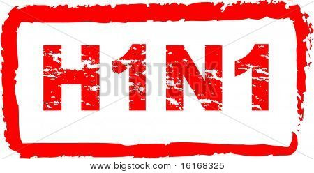 (raster image of vector) Swine flu virus stamp