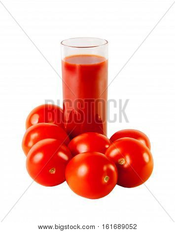 Glass with tomato juice and ripe tomatoes isolated on white background