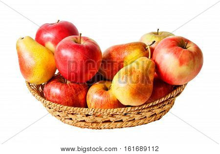 Basket with fruits isolated on white background
