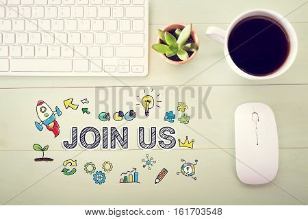 Join Us Concept With Workstation