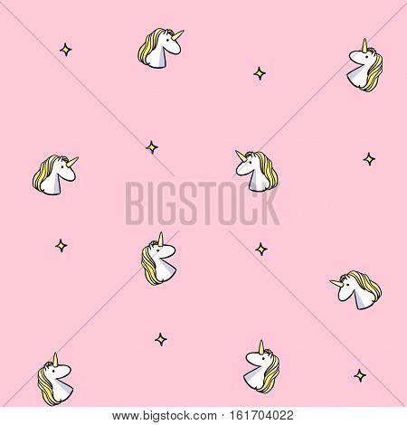 Vector seamless pattern with unicorns. Pink unicorn background