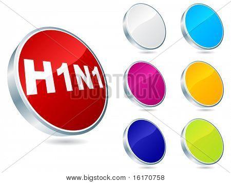 (raster image of vector) Swine flu virus buttons