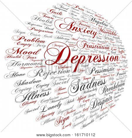 concept conceptual depression or mental emotional disorder abstract word cloud isolated on background