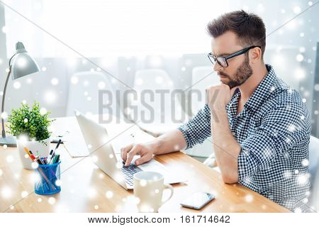 Concentrated Ponder Man Finding Thinking About Task, Winter Concept