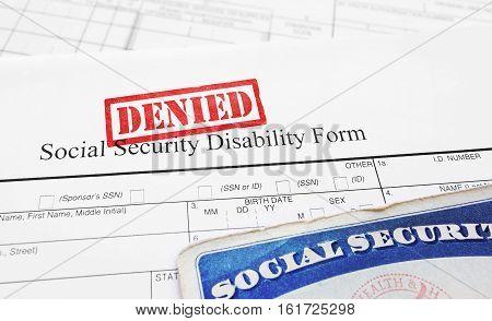 A Denied Social Security Disability application form