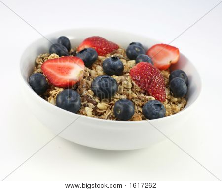 Morning Fruit Cereal On The White Background