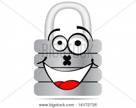 padlock cartoon vector illustration