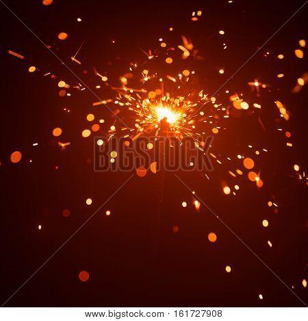 Christmas background with sparkler light