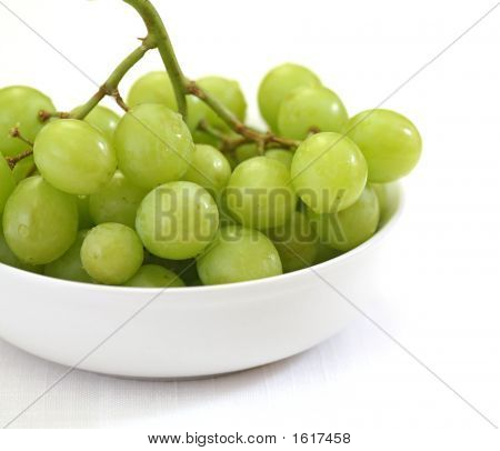 Green Grapes In A White Bowl