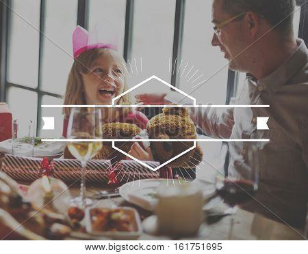 Cheerful Dinner Family Icon Border