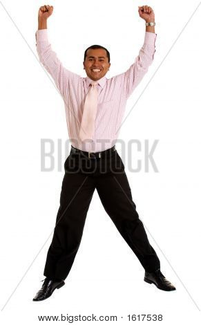 Business Man Jumping Of Joy