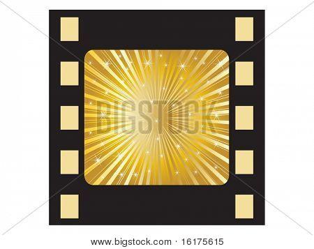 (raster image of vector) golden filmstripe