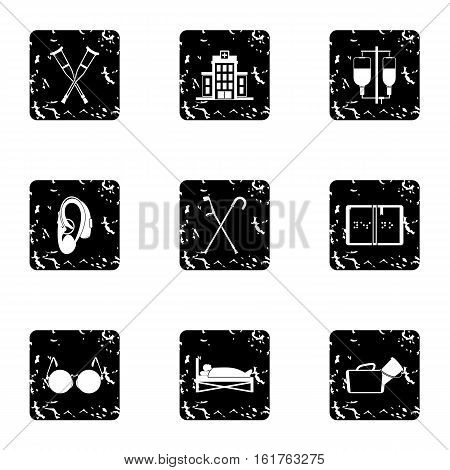 Disability icons set. Grunge illustration of 9 disability vector icons for web