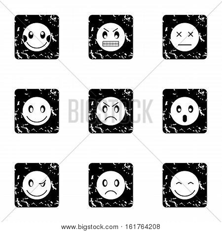 Emoticons icons set. Grunge illustration of 9 emoticons vector icons for web