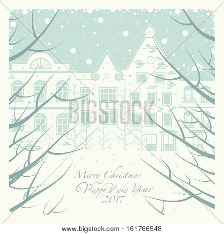 The cover of the card. Depicts a winter street with houses. in the foreground the branches of the trees through which can be seen outside. The phrase merry Christmas and a happy New year.