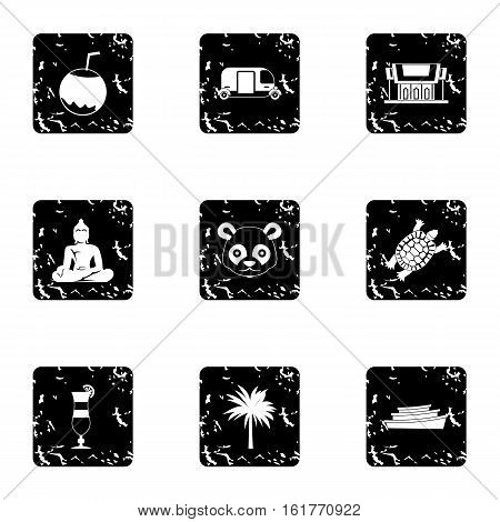Attractions of Thailand icons set. Grunge illustration of 9 attractions of Thailand vector icons for web