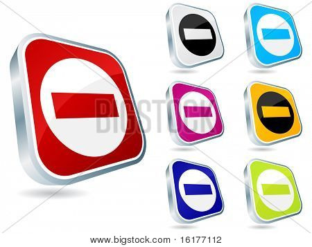 (raster image of vector) forbidden buttons