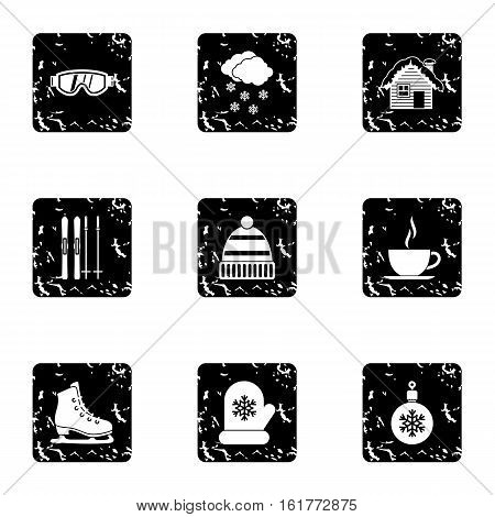 Weather winter icons set. Grunge illustration of 9 weather winter vector icons for web
